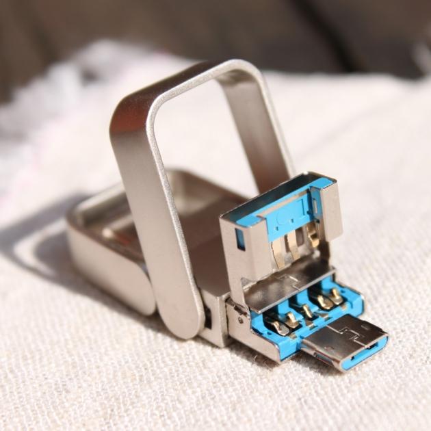 Type C 三合一 OTG 金屬框 隨身碟 128GB-霧銀 3
