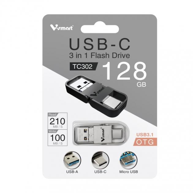 Type C 三合一 OTG 金屬框隨身碟 128GB-霧銀 6