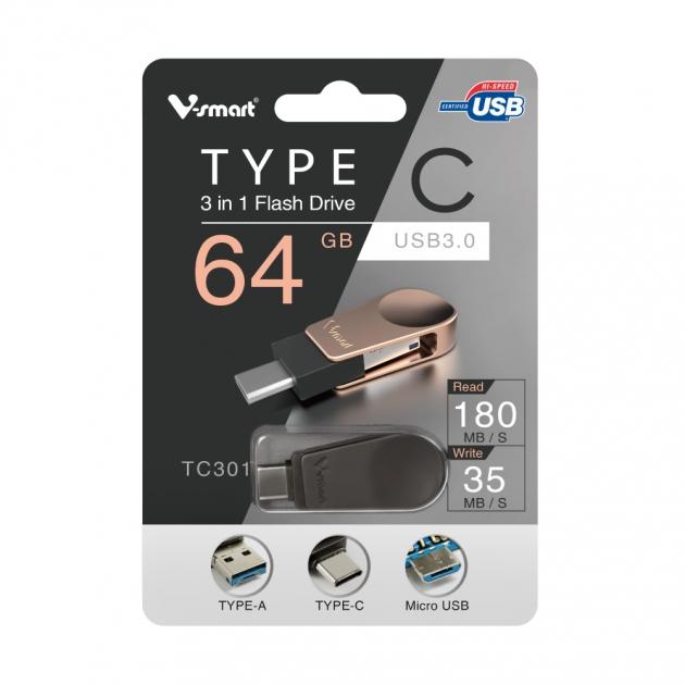 Type C 三合一 OTG 隨身碟 64GB-鐵灰 5