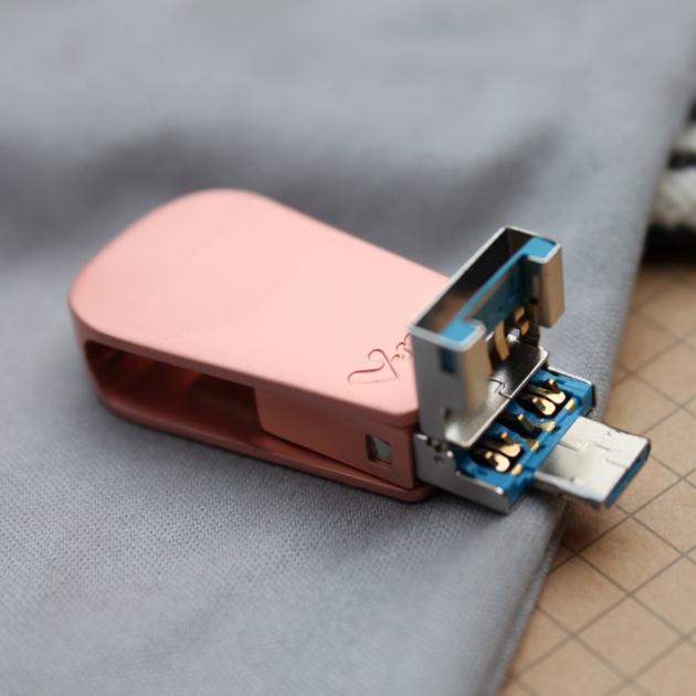 Type C 三合一 OTG 隨身碟 32GB-玫瑰金 水滴款 4