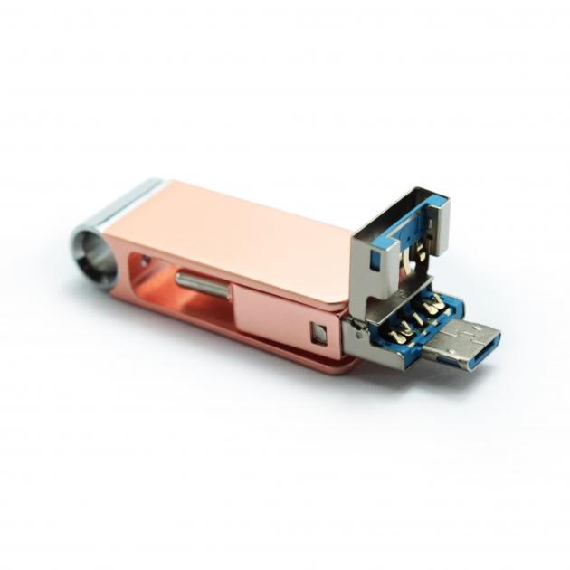 Type C 三合一 OTG 隨身碟 32GB 玫瑰金(附珠鍊) 4