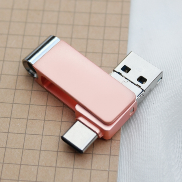 Type C 三合一 OTG 隨身碟 32GB 玫瑰金(附珠鍊) 2